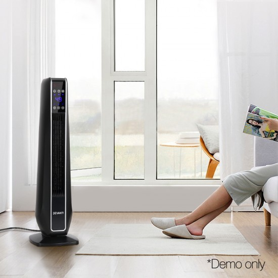 2400W Electric Ceramic Tower Heater - Black