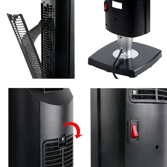 2000W Portable Electric Ceramic Tower Heater - Black
