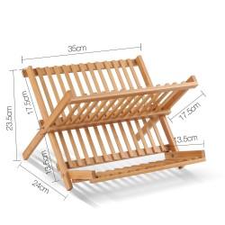 Artiss 2 Tier Bamboo Dish Rack