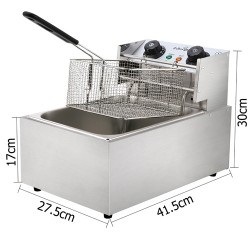 Commercial Electric Single Deep Fryer - Silver