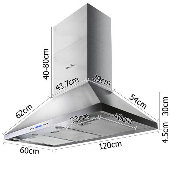 1200mm Commercial BBQ Rangehood - Silver