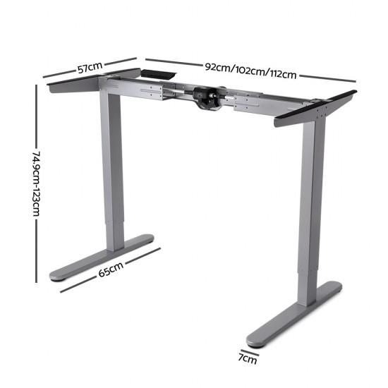 100cm Motorised Electrical Adjustable Frame Standing Desk - Walnut