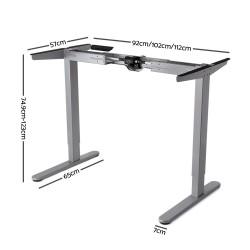 140cm Motorised Electrical Adjustable Frame Standing Desk - Walnut