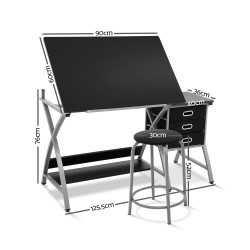 Artiss Drawing Desk With Stool Adjustable Tilt Drafting Table Metal Silver Black
