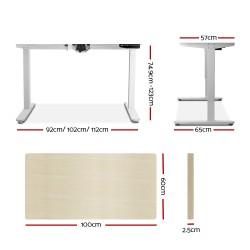 Artiss Electric Motorised Height Adjutable Standing Desk White Frame - Natural Oak 100cmx60cm