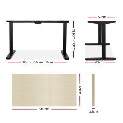 Artiss Electric Motorised Height Adjutable Standing Desk Black Frame - Natural Oak 140cmx60cm