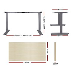 Artiss Electric Motorised Height Adjutable Standing Desk Grey Frame - Natural Oak 140cmx60cm