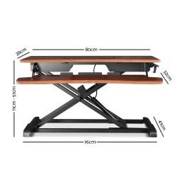 Artiss Height Adjustable Standing Desk Office Sit Stand Riser Walnut