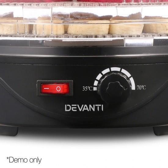Food Dehydrator with 5 Trays - Black