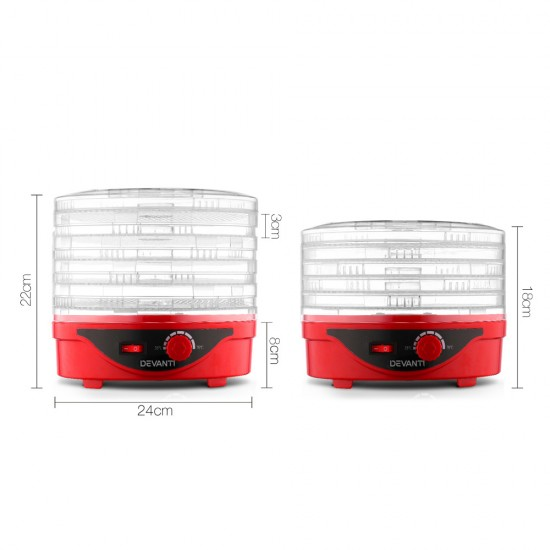 Food Dehydrator with 5 Trays - Red