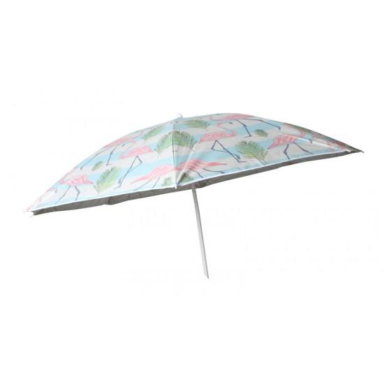 Beach Umbrella 180cm Vintage Flamingo Design