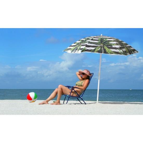 Beach Umbrella 180cm Striped Palm Design