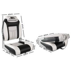 Seamanship Set of 2 Folding Swivel Boat Seats - Grey & Black