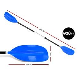 Premium 220cm Kayak Oar Paddle- Blue