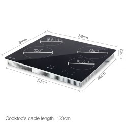 6000W Four Burner Ceramic Cooktop - Black