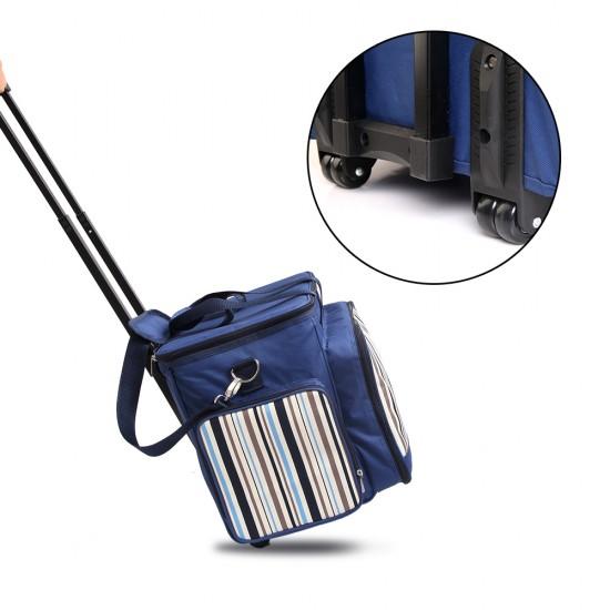 Alfresco 6 Person Picnic Bag Trolley Set - Blue