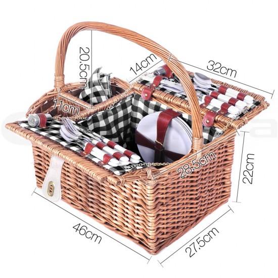 Alfresco Deluxe 4 Person Picnic Basket - Black and White