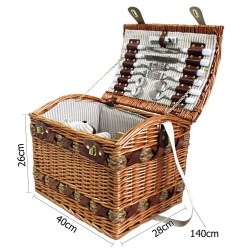 Alfresco Willow 4 Person Picnic Basket - White and Grey