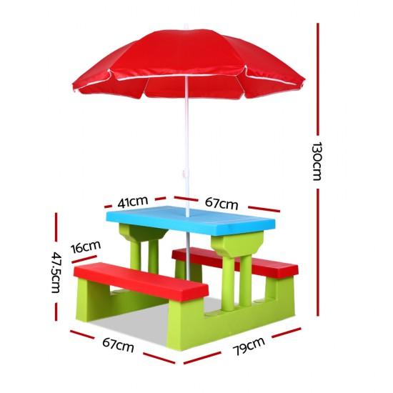 Keezi Kids Picnic Table Bench Set Children Umbrella Outdoor Chair