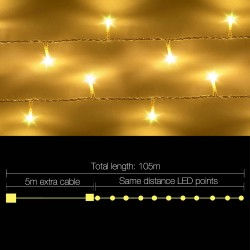 Jingle Jollys 100M 500 LED Christmas String Lights Warm White