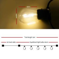 Jingle Jollys 14m LED Festoon String Lights 10 Bulbs Kits Wedding Party Christmas S14