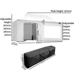 Instahut Aluminium Pop Up Gazebo Outdoor Folding Marquee Tent 3x6m White