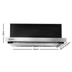 Rangehood Range Hood Stainless Steel Kitchen Canopy 600mm Black