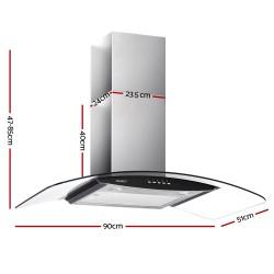 Rangehood 900mm Stainless Steel Curved Glass Wall Mount Range Hood
