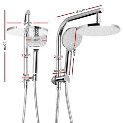 WELS 9 inch Rain Shower Head Round Wall Arm Handheld Spray Bracket Rail Chrome