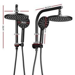 WELS 9 inch Rain Shower Head Round Wall Arm Handheld Spray Bracket Rail Mat Black