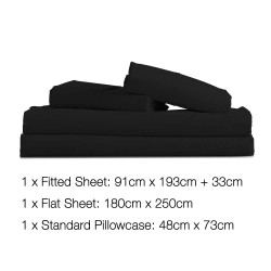 3 Piece Microfibre Sheet Set Single 鈥?Black