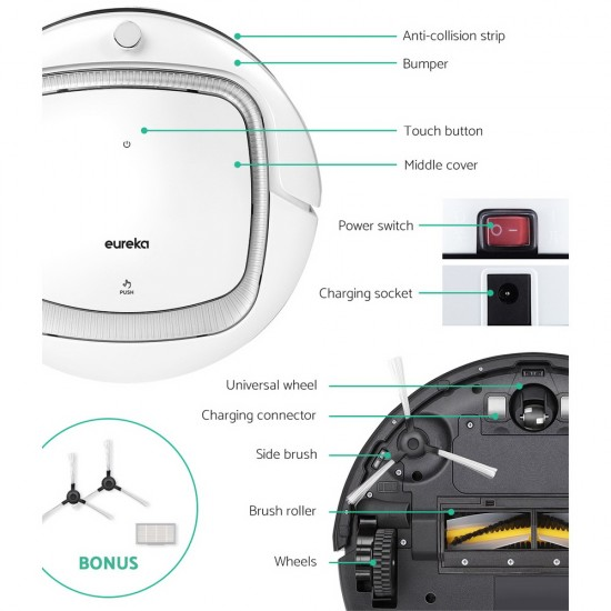 Eureka Robot Robotic Vacuum Cleaner Auto-Recharge Remote Control