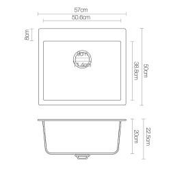 Cefito 570 x 500mm Granite Stone Sink - Black