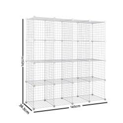 16 Cube Metal Wire Storage Cabinet - White