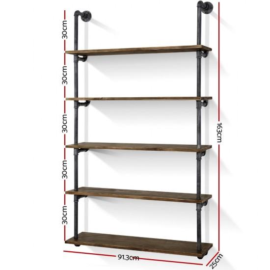 Artiss Rustic Industrial Pipe Shelf Floating Storage Wall Mount