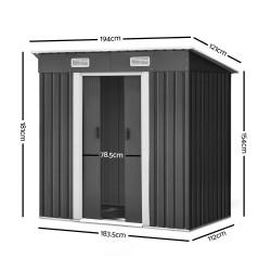 Giantz 1.94 x 1.21m metal Base Garden Shed - Grey