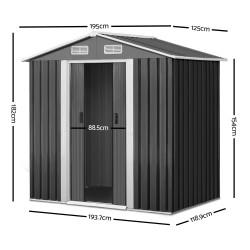 Giantz 1.25 x 1.95m Steel Garden Shed - Grey