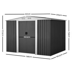 Giantz 2.05 x 2.57m Steel Base Garden Shed - Grey
