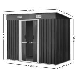 Giantz 2.35 x 1.31m Steel Garden Shed - Grey