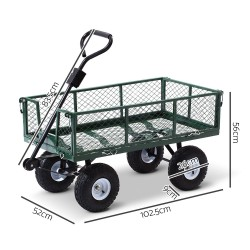 Gardeon Mesh Garden Steel Cart - Green