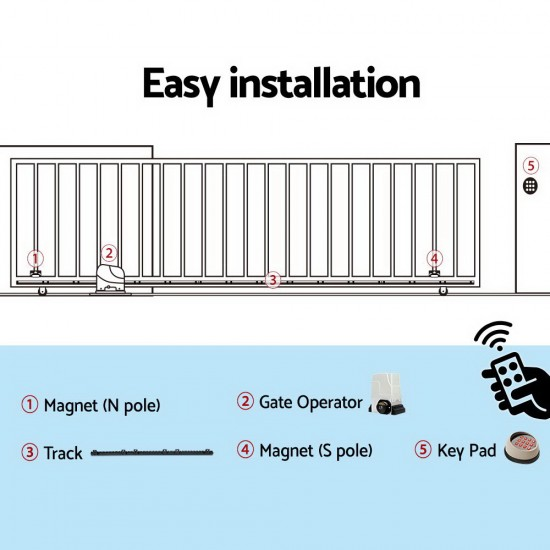 LockMaster Electric Sliding Gate Opener 1800KG With Keypad Remote 4M Rail