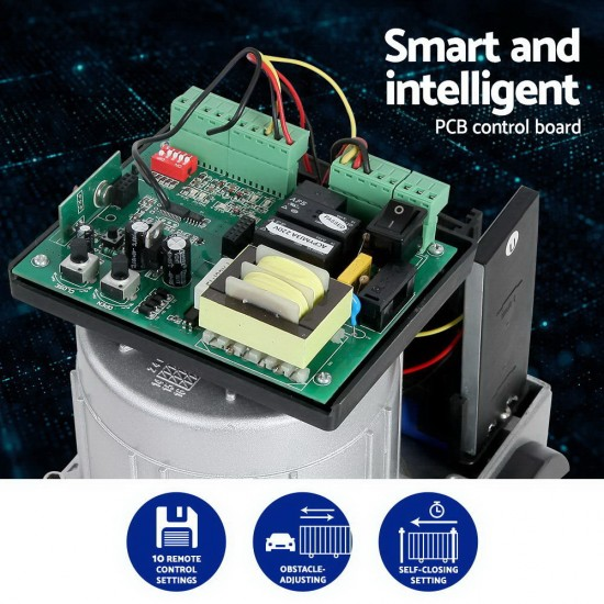 LockMaster Electric Sliding Gate Opener 1200KG With Remote Hardware Kit 4M Rail