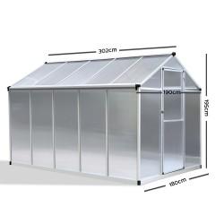 Green Fingers 3 x 1.9m Polycarbonate Aluminium Greenhouse