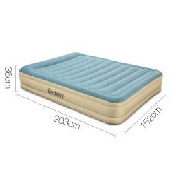 Bestway Queen Size Inflatable Air Mattress - Light Blue & Beige