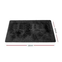 Artiss Ultra Soft Shaggy Rug Large 200x230cm Floor Carpet Anti-slip Area Rugs Black