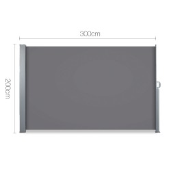 2 x Retractable Side Awning Shade - Grey