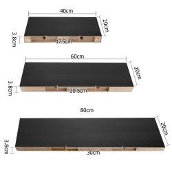 Artiss 3 Piece Floating Wall Shelves - Black