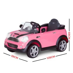 Avigo Kid's Licensed Pink Mini Cooper S Electric Ride on Car 6V battery