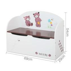 Keezi Kids Storage Box Bench - White & Brown