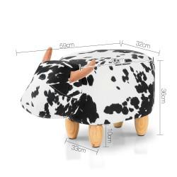 Artiss Kids Cow Animal Stool - Black & White
